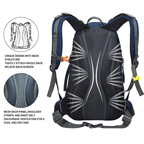 Zaino da Trekking 50 L (45 L+ 5 L), in Nylon Impermeabile Outdoor Zaino, Tracolla di Regolazione Traspirante Zaino da Escursione by Newpurslane Dark Blue