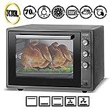 ICQN 70 Liter Schwarz Mini-Öfen | 1800 W | Mini-Backofen mit Innenbeleuchtung und Umluft | Pizza-Ofen | Doppelverglasung | Timer Funktion | Emailliert Black
