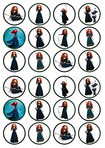 24Prinzessin Merida, Precut Aufstehen -,-Wafer, Kuchen, essbare Cupcake-Dekoration, Dekoration, 24 UNCUT