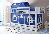 Jugendmöbel24.de Etagenbett Jamie inkl Vorhang Kiefer massiv weiß EN 747-1 + 747-2 Stockbett Doppelbett Spielbett Kinderbett Bett Kinderzimmer Hochbett