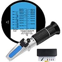HH-TEC Frostschutz Refraktometer Frostschutzmittel Akku Reinigungsflüssigkeit, Ethylenglykol: -60 °C-0 °C 0-66,6%Vol, Propylenglykol: -50°C-0°C 0-62,4%Vol, Batterieflüssigkeiten: 1.100-1.400sg