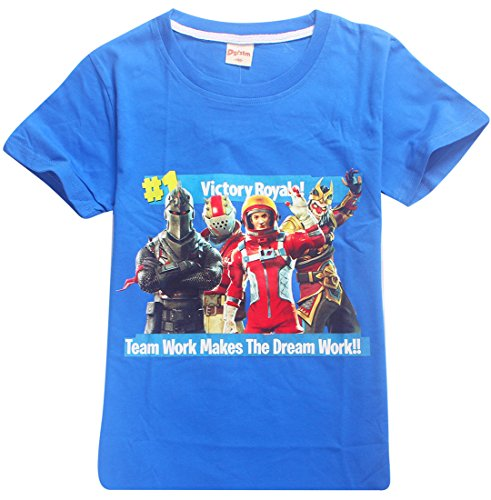 EMILYLE Jungen T-Shirt Fortnite Kinder Videospiele Fans Sommer Geek Battle PVP Multiplayer Kurzarm Top Teen Rundhalsausschnitt Tees (130cm (8-9 Jahre Alt), Blau-5) (Tee Waschen)
