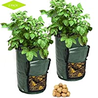 Aoweika Potato Grow Bags, 7 Gallon Garden Plant Growing Bags with Drainage Holes and Handles, Planting Bag for Potato, Carrot, Tomato(2 Pack)