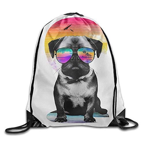 WYICPLO Basic Cute Pug Vacation Sunglasses Dog Pet Drawstring Sack Bag