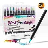 SZRWD, penna a pennello ad acquerello, 24 colori vivaci con punta in feltro e 2 pennelli ad acqua, acquerello con punta a pennello morbida, ideale per dipingere, colorare, set artistico e artistico