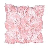 Funda de Cojines Cuadrada 40x40cm con Flores Rosas Funda de Almohada Decoración para Sofá Cama (Rosa)