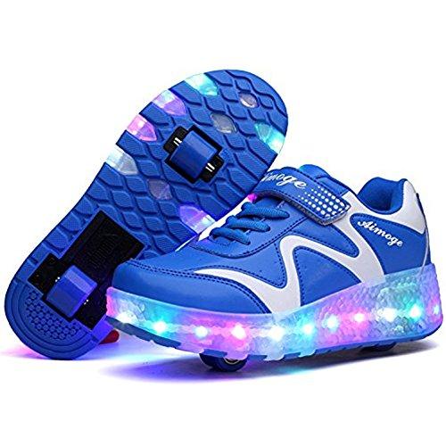 Unisex Skateboard Schuhe Rollschuh Schuhe Einzelrad Rollenschuhe LED-Skateboard Lichter blinken Schuhe Räder Schuhe Turnschuhe mit 2 Rollen Test