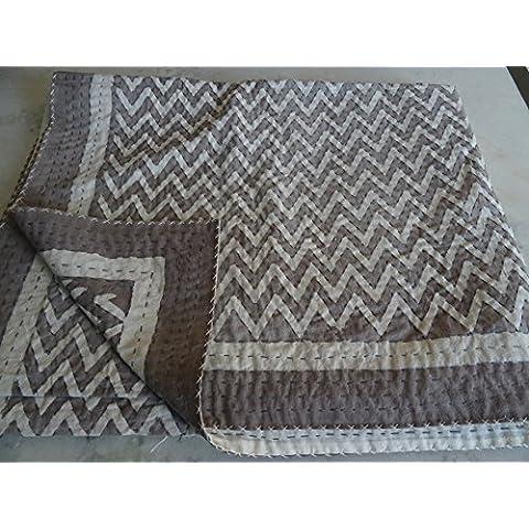Tribal Asian Textiles impresión en color Multi tamaño de la Reina Kantha Edredón, manta Kantha, cubierta de cama, rey Kantha colcha, Bohemia Bedding Kantha Tamaño 90pulgadas x 108pulgadas 1067