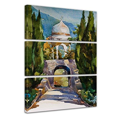 Kunstdruck - Aquarell - Türkisches Gartenhaus - Bild auf Leinwand 90 x 150 cm dreiteilig -...