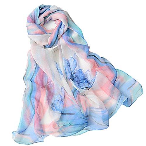 Foulards Femme pas cher Mousseline de soie étole pour Élégant Longue Écharpe de Plage Echarpes 160*50cm Bleu
