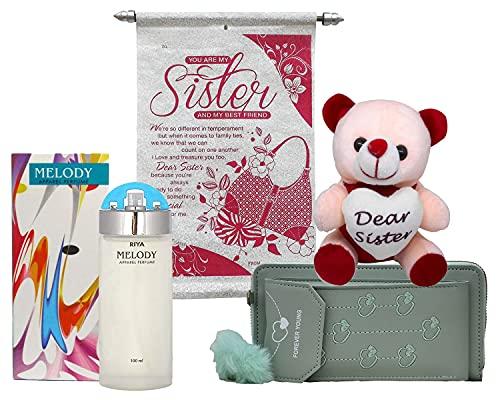 Saugat Traders Rakhi Gift for Sister - Scroll Card, Branded Perfume, Soft Toy & Women's Wallet - Gift for Sis On Rakshabandhan Price in India