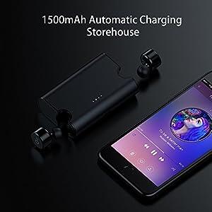 Chevron Wireless Bluetooth V4.2 Earphones With Deep Bass Stereo Sound, Charging Box And Handsfree Mic (Volcano Black)