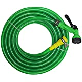 "TechnoCrafts PVC Braided Hose For Floor Care 15 Meter (50 Feet) 3/4"" (0.75 Inch Or 19mm) Bore Size - 3 Layered Hose Pipe With 7 Function Spray Gun, 1/2"" Tap Connector & 2 Butterfly Clamps"