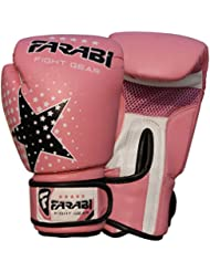 Kids Boxing gloves, MMA, Muay thai junior punch bag mitts Pink 6Oz by Farabi