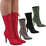 Feet First Fashion Keri Womens High Stiletto Heel Lace Up Mid Calf Boots