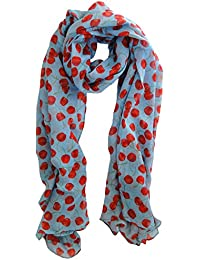 Light Blue & Red Cherries Scarf Ladies Fashion Spot Scarves