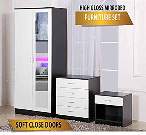 Ossotto Mirrored High Gloss 3 Piece Bedroom Furniture Set - Soft Close Wardrobe, 4 Drawer Chest, Bedside Cabinet (White on Black)