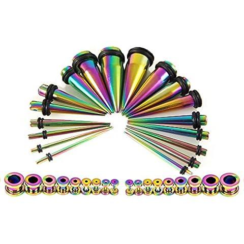 Kit conico, 36 pezzi, in acciaio INOX, con connettori da avvitare, 18 g, 14 paia, (Acciaio Di Stretching Taper Plug)