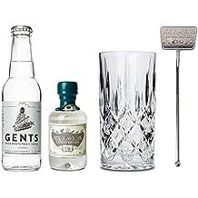 Premium Gin & Tonic Geschenk Set: Das ideale Geschenk / Komplett mit Six Ravens Gin, Tonic Water, Kristallglas und Stirrer