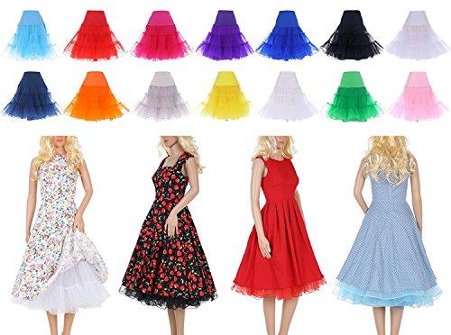 LIDORY 50s Petticoat knielang Vintage Retro Reifrock Unterrock Underskirt Crinoline für Wedding Bridal Rockabilly Kleid Weiß