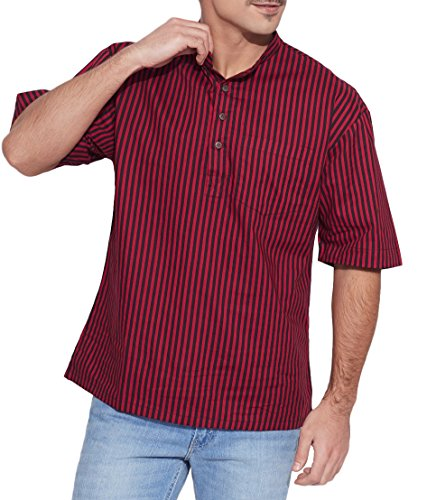 Shalinindia Men Cotton Printed Short Kurta Mandarin Collar ,Maroon Size-46 Inch  available at amazon for Rs.870