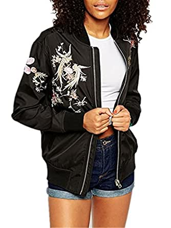 Ecollection® Damen Jahrgang Bomberjacke Stickerei Klassisch Bikerjacke Padded Mantel Vintage Bomber Jacket Embroidery Classic Zip up Biker Jacket Stylish Padded Coat (TAG S UK6-8)