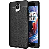 Golden Sand Compatible with OnePlus 3 / OnePlus 3T Case Cover Shock Proof Armor Leather Texture TPU Bumper Case Black (One Plus 3 / One Plus 3T)