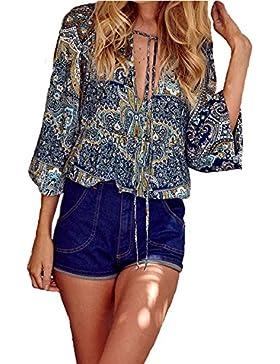 StyleDome Donna Camicetta Stampa Maglietta Collo V Maglia Blusa Manica Lunga Elegante Sexy Casual