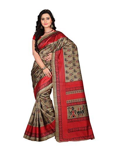 e-VASTRAM Womens Art Mysore Printed Silk(NS10D_Maroon)