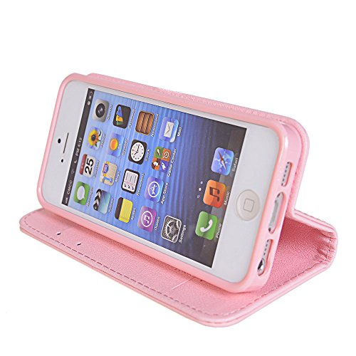 iPhone 5 5S Coque,COOLKE [Vert] Flip Case PU Etui Housse Coque Cover pour Apple iPhone 5 5S Pink