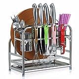 SSBY Cucina i telai del trinciapaglia in acciaio inox coltelli blocco coltelli chopstick titolare fornisce cucina rastrelliere rastrelliere porta-utensili tagliere tagliere,B