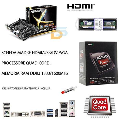 UPGRADE PC SCHEDA MADRE HDMI + CPU QUADCORE 4,20 GHZ