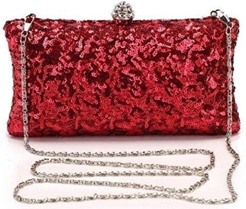 Vintage Damen Handtasche Pailletten Glitzer Hartschale Clutch Tasche Rot