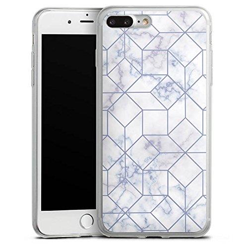 Apple iPhone 8 Plus Slim Case Silikon Hülle Schutzhülle Marble Weiss Muster Silikon Slim Case transparent