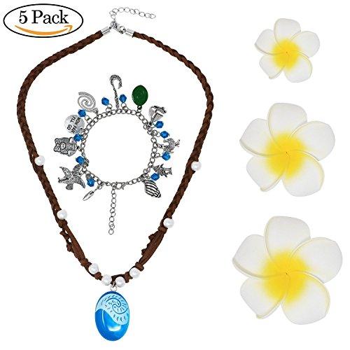 Bascolor Moana Vaiana Halskette Kette Moana Armband und 3pcs Blumen Haarspangen für Mädchen Prinzessin Moana ()