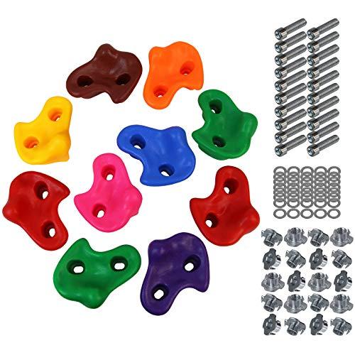 ALPIDEX Presas de Escalada para niños , Capacidad de Carga 200 kg , Material de fijación Incluido , Diferentes cantidades 10 Piezas