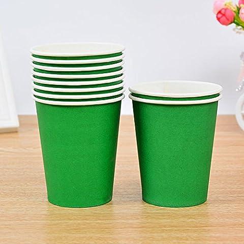 Tankerstreet jetables Vert gobelets en papier pour boissons chaudes froid, gobelets en papier Fête les pique-niques 255,1gram Lot de 8(Vert)