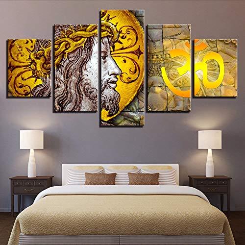 mmer Wandkunst Gedruckt Hd Bilder 5 Stücke Christian Religion Charakter Jesus Leinwand Malerei Modulare Poster Gerahmt-10X15/20/25Cm-Frame ()