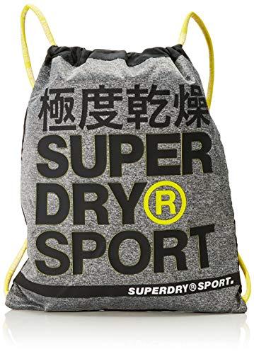 Superdry Herren Super Fitness Drawstring Rucksack, Mehrfarbig (Grey Marl/Yellow), 40x1x48 cm