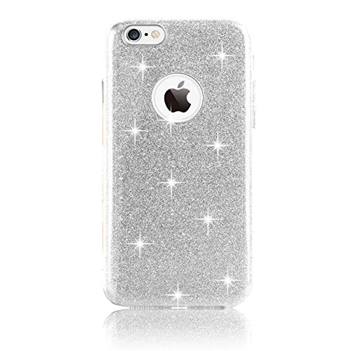Sunnycase® iPhone 6 Plus / 6S Plus Coque Bling Strass Transparent Souple Case Cover de Protection TPU Gel Coque Etui Bling Clair Crystal Silicone Shell Housse Ultra Mince Case Cover Premium Flex Soft  TPU-argent