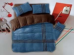 155x200 braun dunkelblau Winter Wende-Bettwäsche Flanell 4tlg Bettwäscheset Bettbezüge Bettwäschegarnituren brown dark navy blue GDS 9