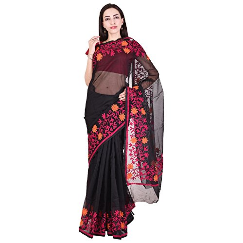 Luvit Women's Aari Work Pure Kota Supernet Cotton Saree With Blouse (Black)