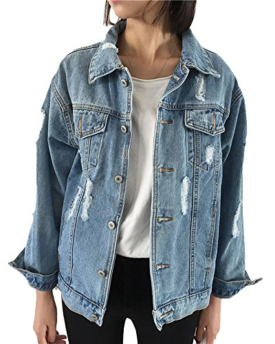 PengGeng Damen Casual Coole Boyfriend Große Größen Jeansjacke Lange Ärmel Denim Mantel Hell blau S Junior Fashion Denim Jacke