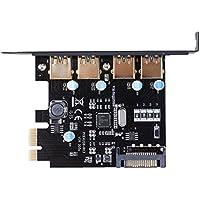 Hillrong PCI-E a USB 3.0 4 Puertos PCI Express Tarjeta de expansión 15 Pines Conector de alimentación Negro Negro