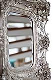 Spiegel 65x72cm Wandspiegel silberfarben Verzierungen Rosen antik Stil mirror - 7