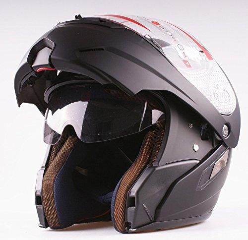 MRC - Casco da moto modulare apribile, jet/integrale con doppia visiera, colore nero opaco