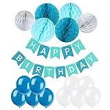 Eburtstag Dekoration, Recosis Happy Birthday Girlande mit Luftballons Latexballons und Wabenbälle Papier für Geburtstag Dekoration - Blau