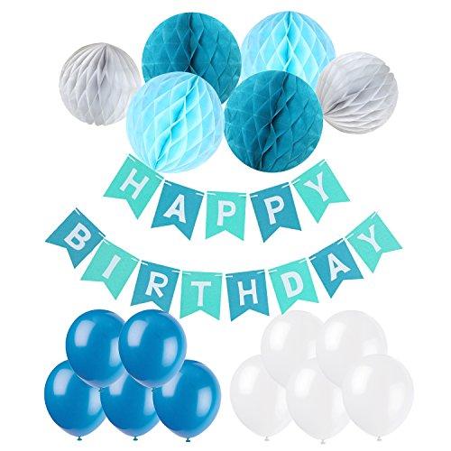 , Recosis Happy Birthday Girlande mit Luftballons Latexballons und Wabenbälle Papier für Geburtstag Dekoration - Blau (Erster Geburtstag Party Dekorationen)