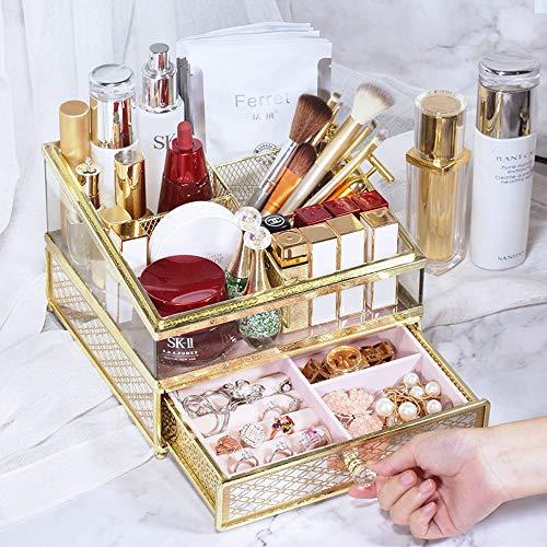 Slivy Glas Make-up Organizer Aufsatz- Flanell Schmuck-Box Metall-kosmetische Speicher-Display-Boxen mit Acrylhandgriff-Fach-Set for Dresser Eitelkeit, 8.66