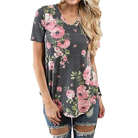 Uranus Women's V Neck Floral Print Short Sleeve Blouse Casual T-Shirt